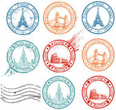 City stamps collection — ストックベクタ