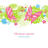 Floral spring background (seamless pattern) — Stock Vector
