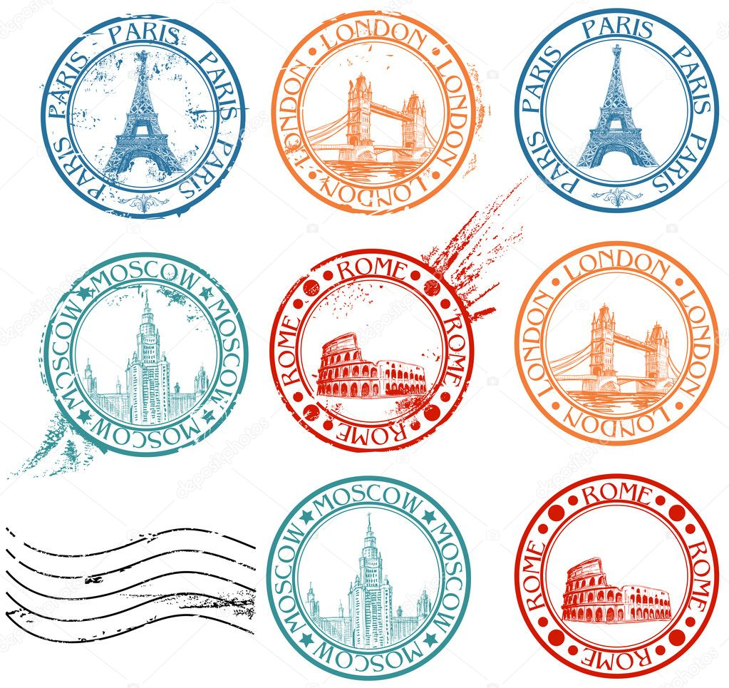 City stamps collection with symbols: Paris (Eiffel Tower), London (London Bridge), Rome (Colosseum), Moscow (Lomonosov University)  — Stockvectorbeeld #5333160