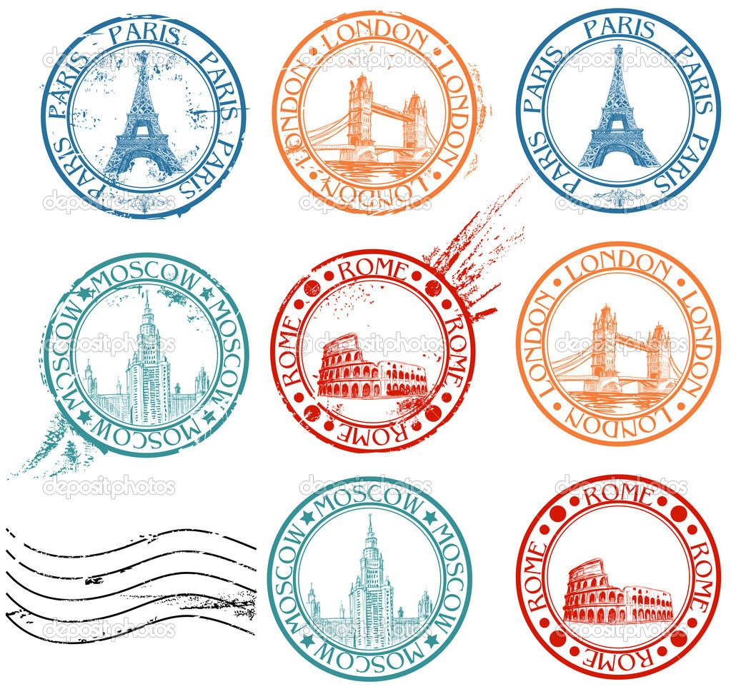 City stamps collection with symbols: Paris (Eiffel Tower), London (London Bridge), Rome (Colosseum), Moscow (Lomonosov University)  — Vektorgrafik #5333160
