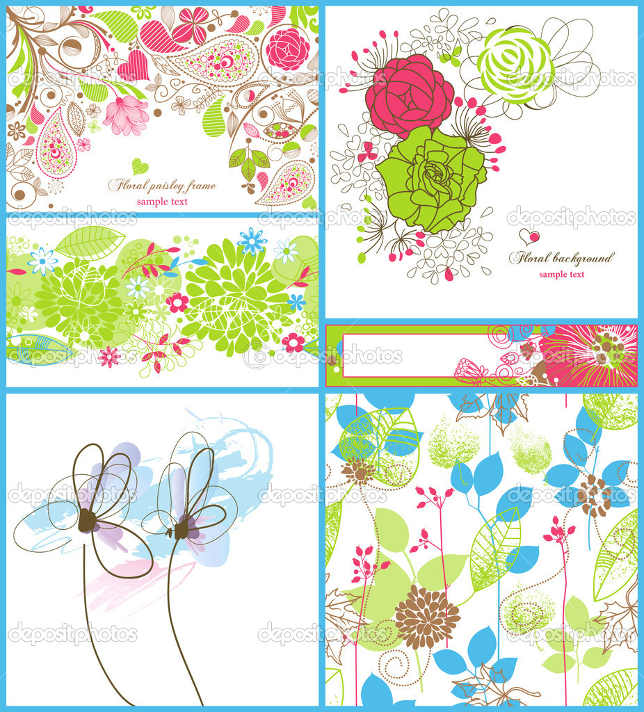 A collection of floral backgrounds: frames, seamless patterns and greeting cards   Stock Vector #5333259