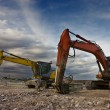 Bulldozer twins - Stock Photo