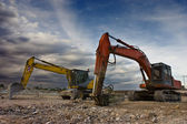 Bulldozer twins — Stock Photo