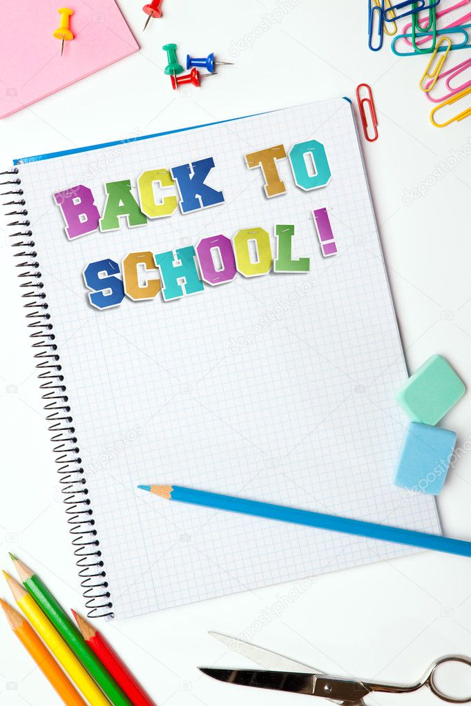 Set of pencils, erasers, post-its and other useful supplies for the school. There is a centered blank notebook for text writing with the title of Back to School — Stock Photo #4924784