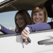 Two happy women in a car — Stock Photo #4194177