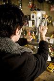 Man working in workshop — Stock Photo