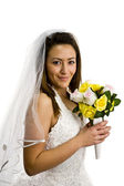 Young bride with flowers — Stock Photo