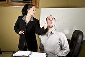 Woman slapping man — Stock Photo