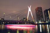 Suspension bridge and ship — Stock Photo