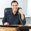 Stock Photo: Businessman talking on telephone in office