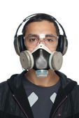 Young Man Wearing Goggles, Respirator and Hearing Protection — Stock Photo