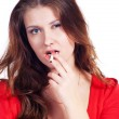 Beauty with cigarette — Stock Photo