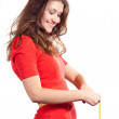 Beauty happy while measuring her waist — Stock Photo #4675496