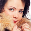 Portrait of women in fur coat. — Stock Photo