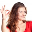 Attractive Woman Making 'OK' Hand Gesture — Stock Photo