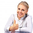 Office worker giving the thumbs-up sign — Stock Photo