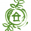 Eco house web icon sketch paint — Stock Photo