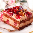 Stock Photo: Chocolate and cherry cake with walnuts
