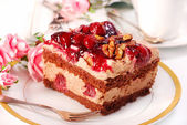 Chocolate and cherry cake with walnuts — Stock Photo