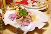 Herring fillets for christmas — Stock Photo