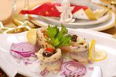 Herring fillets for christmas — Stock Photo