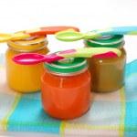 Jars of baby food — Stock Photo