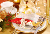 Christmas table decoration — Stock Photo