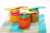 Jars of baby food — Stock Photo