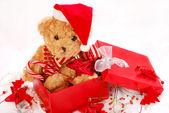 Teddy bears as christmas gift — Stock Photo