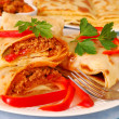 Pancakes with bolognese filling — Stock Photo #4273897