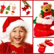 Christmas collage in red — Stock Photo