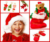 рождественские коллаж в красном — Стоковое фото