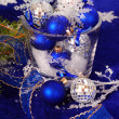 Christmas decoration in deep blue colors — Stock Photo