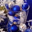 Christmas decoration in deep blue colors — Stock Photo #4288009