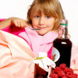 Sick little girl in bed — Stock Photo #4319919