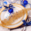 Christmas table setting in white and blue colors — Stock Photo