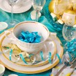 Christmas table decoration in turquoise colors — Stock Photo #4320147