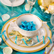 Christmas table decoration in turquoise colors — Stock Photo #4320157