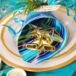 Christmas table decoration in turquoise colors — Stock Photo #4320175