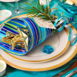 christmas table decoration in turquoise colors — Stock Photo
