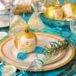 Christmas table decoration in turquoise colors — Stock Photo #4320246
