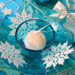 Christmas table decoration in turquoise colors — Stock Photo #4330759