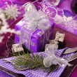 Christmas table decoration in purple  color — Stock Photo