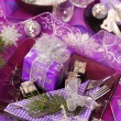 Christmas table decoration in purple color — Stock Photo #4339589