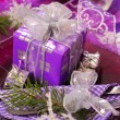 Christmas table decoration in purple color — Stock Photo #4339596