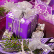 Christmas table decoration in purple  color - Stock Photo