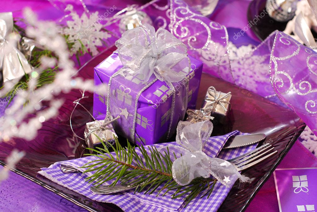 Christmas table decoration in purple color stock photo - Is purple a christmas color ...