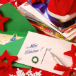 Writing greeting cards for christmas — Stock Photo
