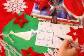 Scrivere biglietti d'auguri per natale — Foto Stock