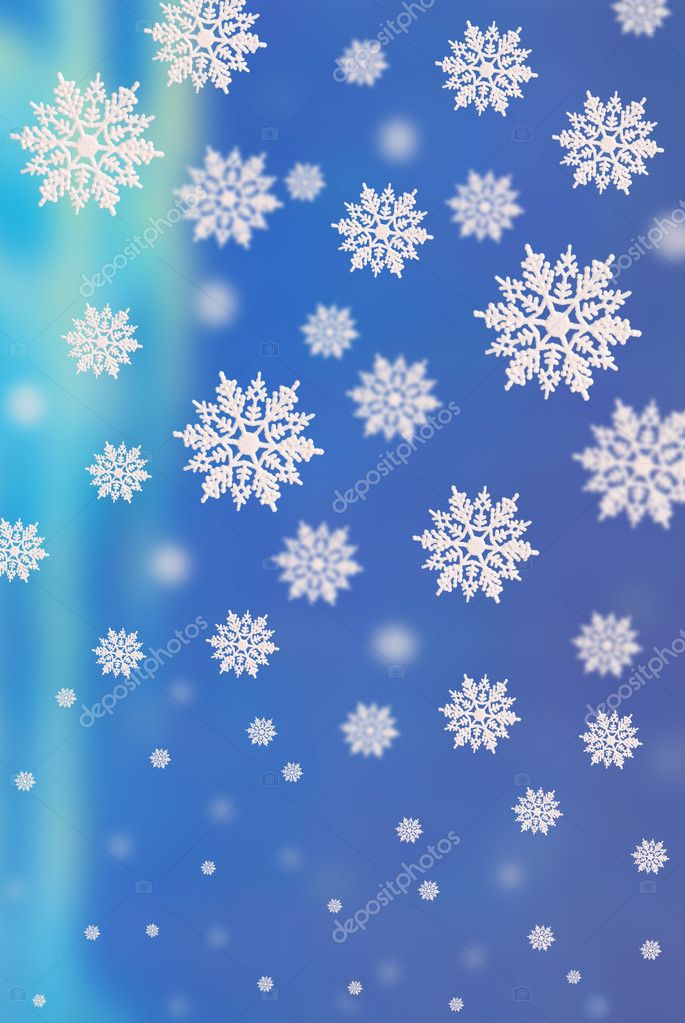 3D blue background with falling down  snowflakes of the different size — Stock Photo #4424057